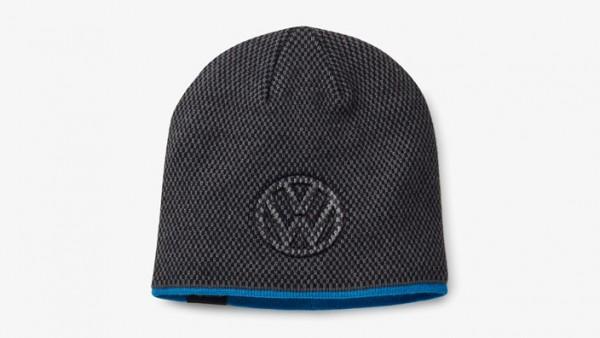 Volkswagen Mütze mit 3D-Logo, unisex, Dunkelgrau/Blau, VW Beanie