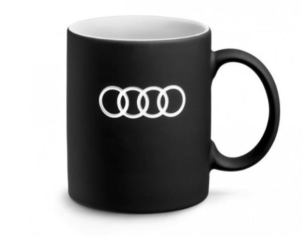 Audi Tasse, schwarz, 350ml, Kaffeetasse Porzellan