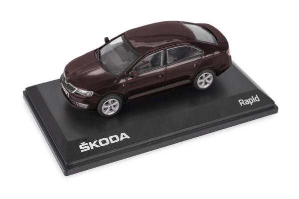 ŠKODA Modellauto RAPID 1:43, Farbe Brunello-Rot