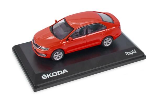 ŠKODA Modellauto RAPID 1:43, Farbe Corrida-Rot