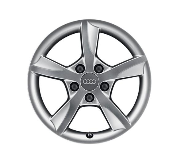 Winter-Aluminium-Gussrad im 5-Arm-Rotor-Designbrillantsilber, 6,5 J x 16