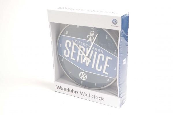 VW Service Wanduhr, Farbe Blau, Retro Style Volkswagen