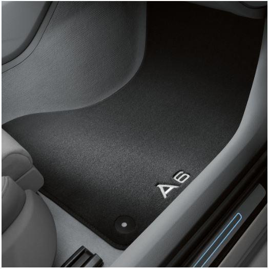 Textilfußmatten-Set Premium für vorne und hinten, schwarz/silbergrau Audi A6 ab MJ 2012