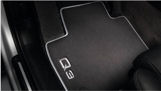Textilfußmatten Premium für Audi Q3 8U vorne unte hinten, schwarz/silbergrau