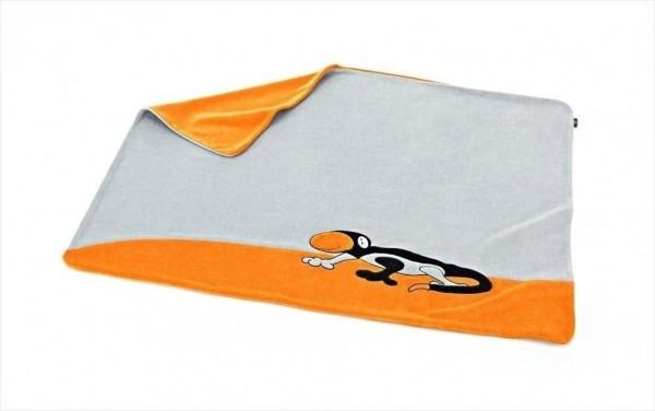 Audi Kinder Schmusedecke grau/orange/schwarz Rob der Gecko