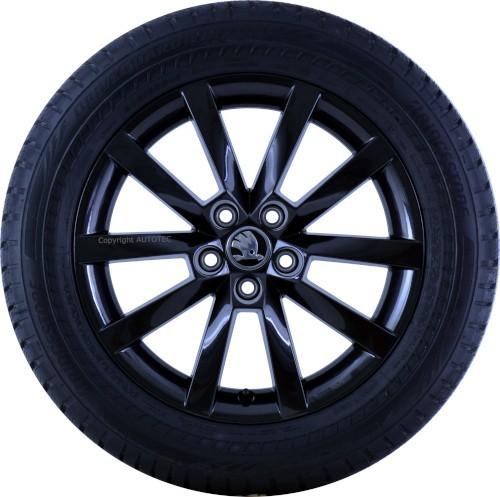 ŠKODA Winterkomplettradsatz Scala 205/55 R16 94V Bridgestone auf Alufelge Alaris schwarz
