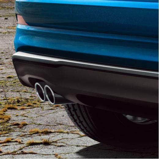 Sport-Endrohrblenden Audi Q2 mit Doppelrohr links, silber verchromt