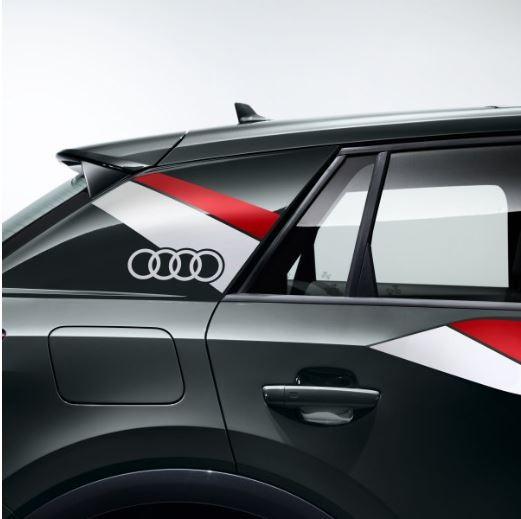 Dekorfolie im Flanken-Design Audi Q2 misanorot/ibisweiß matt