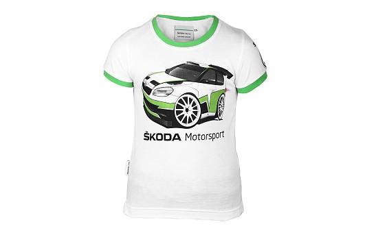 ŠKODA Kinder T-Shirt Motorsport, XS 92-96, Weiß