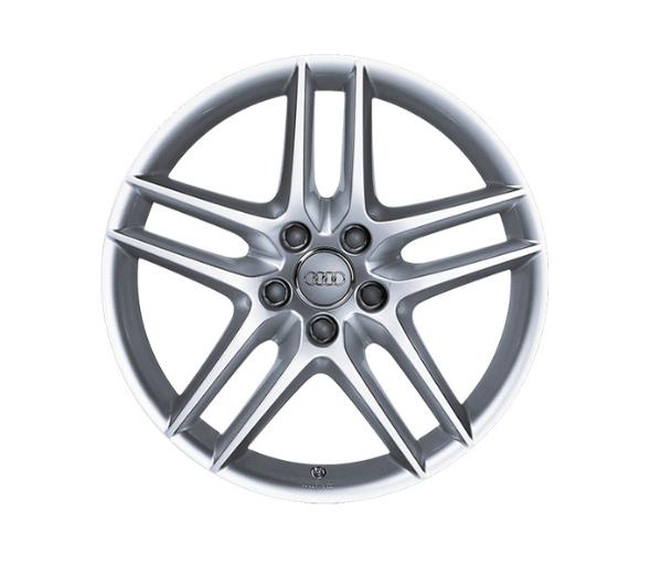Aluminium-Gussrad im 5-Doppelspeichen-DesignSilber Metallic, 7,5 J x 17