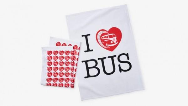 "Volkswagen Bulli Geschirrhandtusch-Set ""I Love Bus"""
