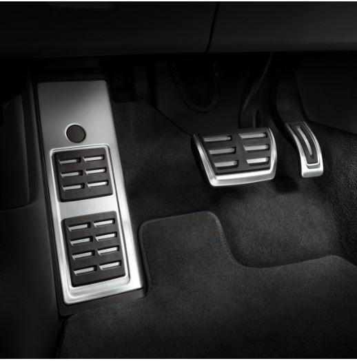 Edelstahl Pedalkappen Set inkl. Fußstütze für Audi Q5 FY ab MJ 2017 Automatikgetriebe