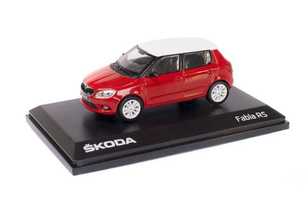 ŠKODA Modellauto FABIA RS, Modell 1:43, Farbe Corrida-Rot/weißes Dach