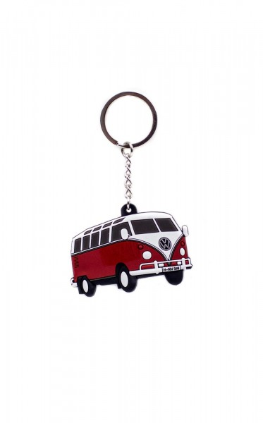 VW Schlüsselanhänger Bulli T1, rot/weiss