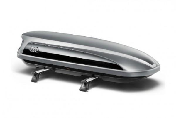 Audi Dachbox / Ski- und Gepäckbox platinumgrau mit brillantschwarzem Seitenblade, 405L