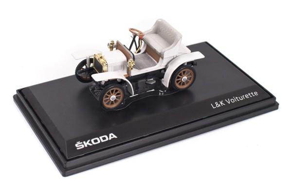 ŠKODA Modellauto Voiturette, 1:43, Farbe Weiß