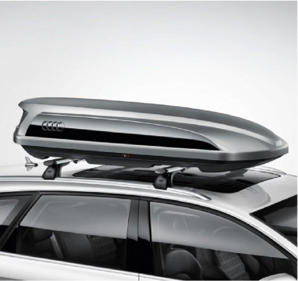 Audi Dachbox / Ski- und Gepäckbox platinumgrau mit brillantschwarzem Seitenblade, 300L