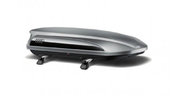 Audi Dachbox / Ski- und Gepäckbox platinumgrau mit brillantschwarzem Seitenblade, 360L