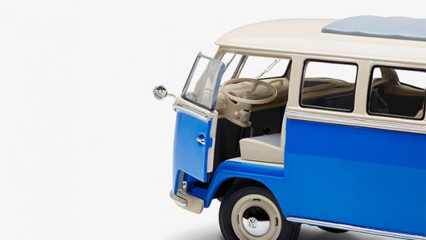 Modellauto Volkswagen Samba Bus T1, 1:18, Blau-Weiß