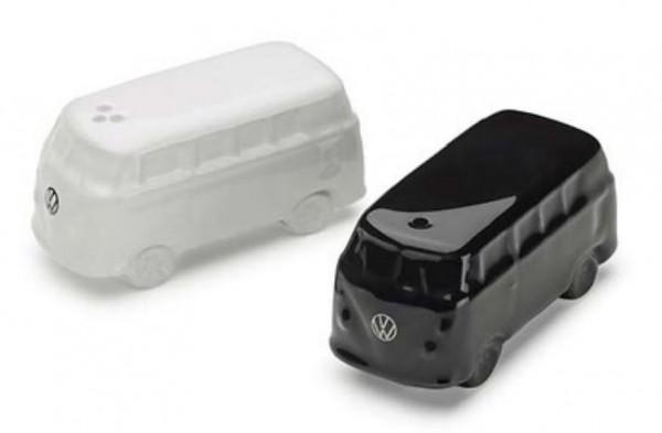 Volkswagen Salz- und Pfefferstreuer, VW T1, schwarz/weiß, VW BUlli