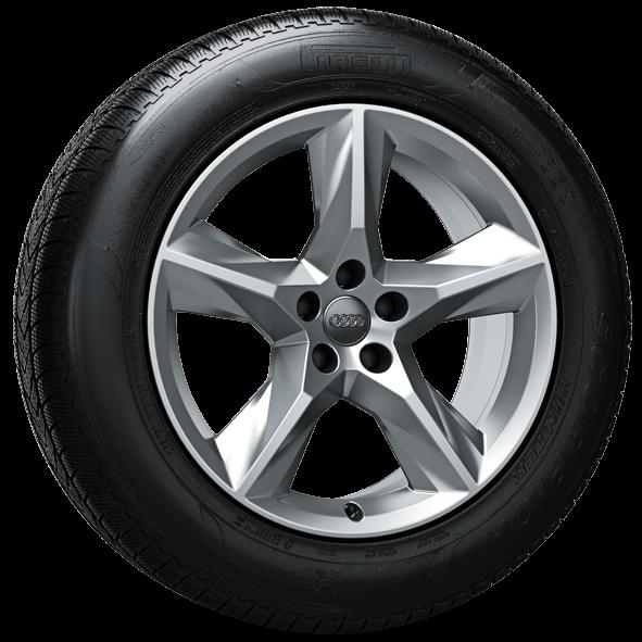 Winterkomplettrad-Satz im 5-Speichen-Stern-Design 255/55 R19 111H Pirelli Audi Q7 4M ab MJ 2016