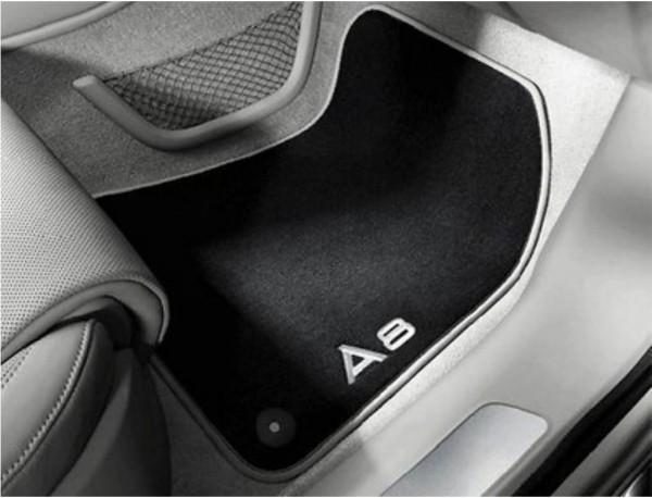 Textilfußmatten Premium vorne, schwarz/silbergrau Audi A8 2010 - 2017