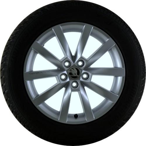 Winterkomplettradsatz auf Alufelge Alaris silber für Skoda Scala 205/55 R16 94H Bridgestone