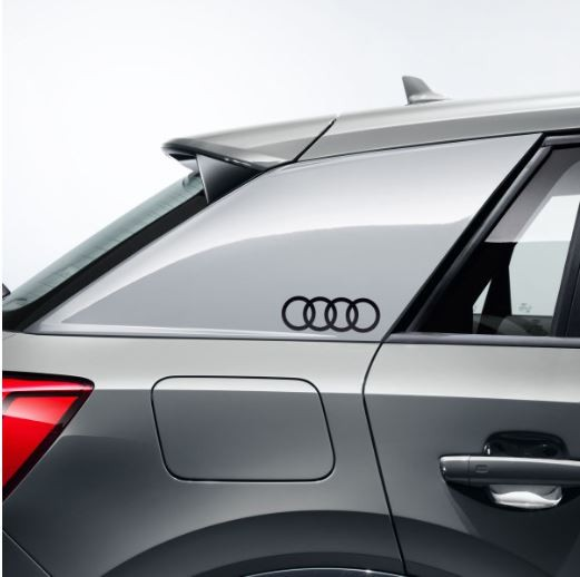 Dekorfolie Audi Ringe, brillantschwarz Audi Q2 für Seitenblade