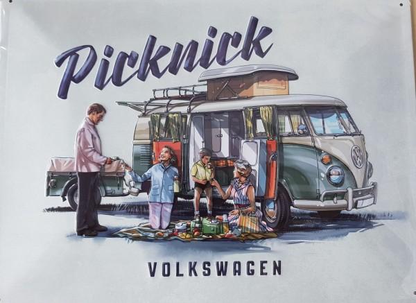"Volkswagen T1 Blechschild, ""T1 Picknick"""