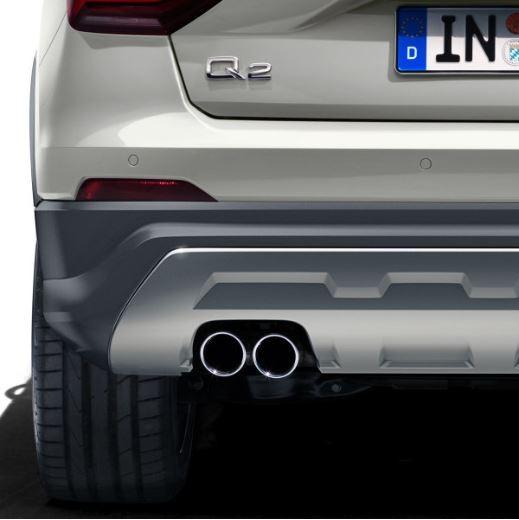 Sport-Endrohrblenden Audi Q2 mit Doppelrohr links, schwarz verchromt