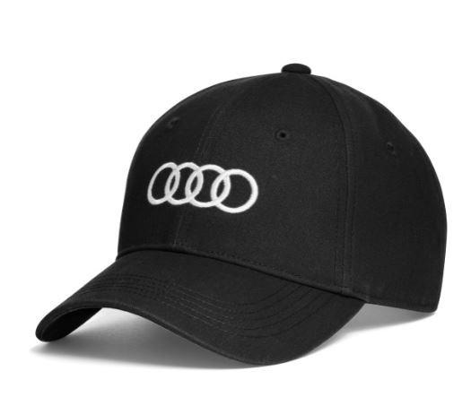Audi Cap, schwarz, weiß oder rot, mit Audi Ringe, 55 - 59cm