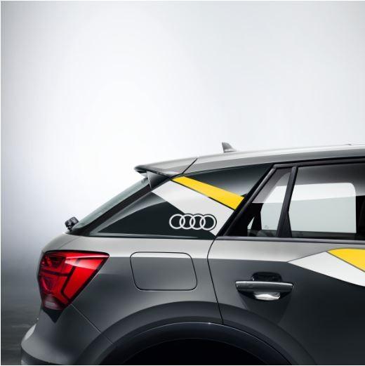 Dekorfolie im Flanken-Design Audi Q2 macaogelb/ibisweiß