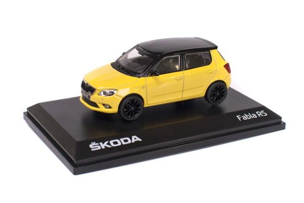 ŠKODA Modellauto FABIA RS, Modell 1:43, Farbe Sprint-Gelb/schwarzes Dach
