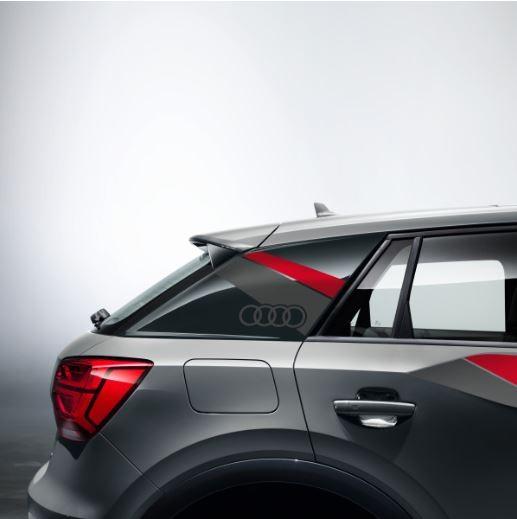 Dekorfolie im Flanken-Design Audi Q2 misanorot/daytonagrau